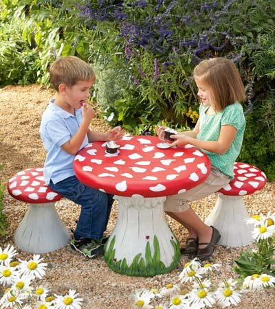 Mushroom Outdoor Table And Stools Set Infobarrel