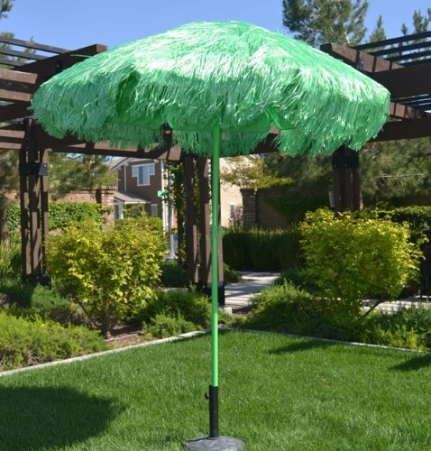 6.5' Thatched Hula Tilt Beach Market Umbrella - Green Color