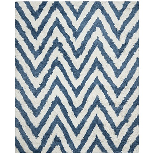 Safavieh Chevron Shag Collection SG250A Handmade Ivory and Blue Area Rug, 8 feet by 10 feet (8' x 10')