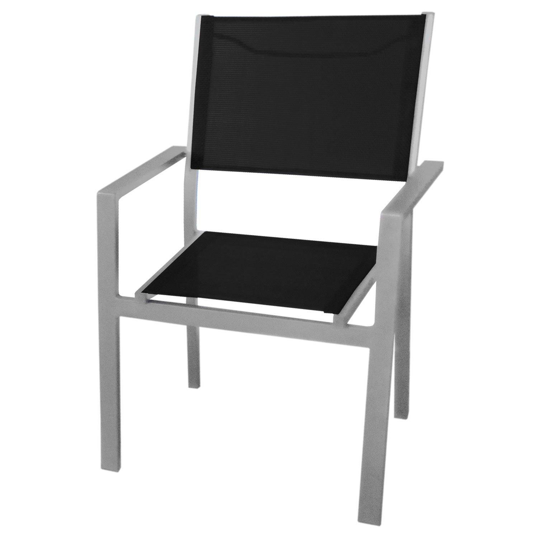 Sonderpreis! Aluminium Stapelstuhl mit 4×4 Textilenbespannung, stapelbar, Gartenstuhl Bistrostuhl – Silber / Schwarz kaufen