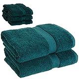 Bath Towel Set 2 Piece on Sale 100% Egyptian Cotton Teal & 6 Piece Face Towel Gift