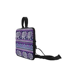InterestPrint Purple Vintage Elephants Shoulder Strap Computer Bag, Ethnic Elephant Neoprene Laptop Sleeve Case Cover for 13 Inch for MacBook Pro Air HP Dell Notebook (Color: Purple, Tamaño: 13.3 inch)