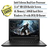 2016 Newest Lenovo Premium Built High Performance 15.6 inch HD Laptop (Intel Celeron Processor 4GB RAM 500GB HDD, DVD RW, Bluetooth, Webcam, WiFi, HDMI, Windows 10 ) - Black