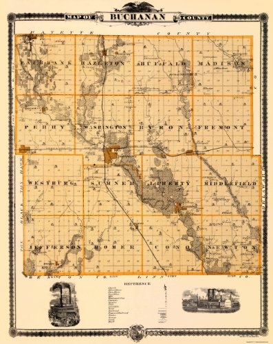 Old County Maps - Buchanan County Iowa (Ia) By A.T. Andreas 1874 - Glossy Satin Paper front-248512