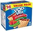 Pop-Tarts, (Not Frosted) Strawberry, 16-Count Tarts (Pack of 8)