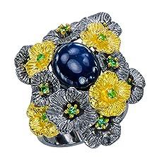 buy Graceful Natural Blue Star Sapphire Tsavorite Garnet Ring 925 Sterling Silver Floret Statement Ring Size 7