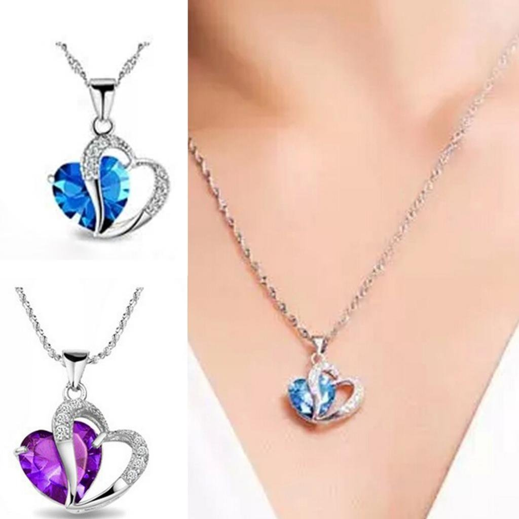 1Pc Sky Blue- Stylish Artificial Gem Love Heart Shape Pendant Chain Necklace Valentines Gift