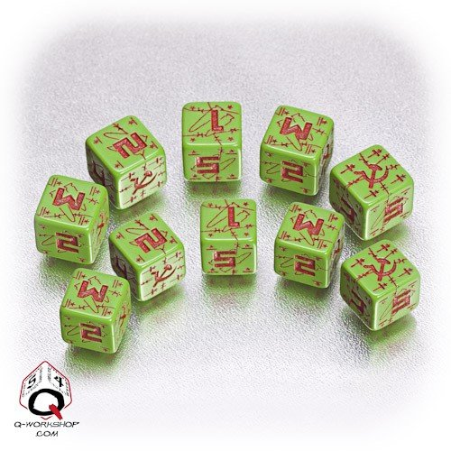 Q-Workshop: Five d6 Dice - Battle Dice - WW II D6 Soviet (USSR) Green & Red