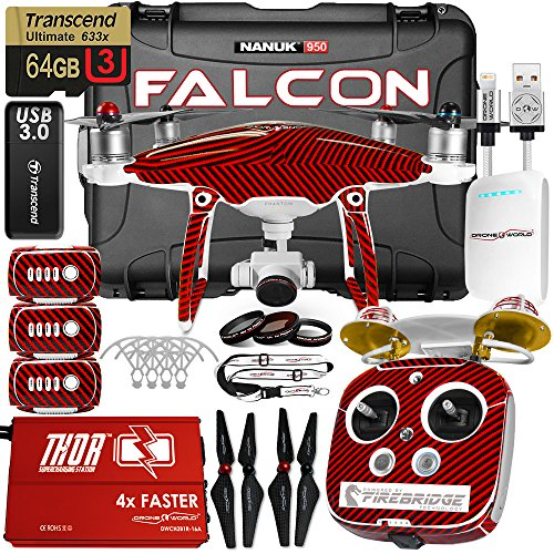 DJI-Phantom-4-Falcon-Edition-Kit-w-Firebridge-Long-Range-System-Nanuk-950-Wheeled-Case-3-Batteries-Thor-Charger-Carbon-Fiber-Props-Guards-Phantom4-Pro-Lens-Filters-64GB-Card