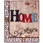 Wooden Home Wall Plaque with Metal Scrolls