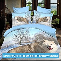 Lt Twin Full Queen Size 4-pieces 3d White Wolf Snow Trees Prints Duvet Cover Sets/bedding Sets / Bed Linens (Twin, 1 Duvet Cover+1 flat sheet +2 Pillowcases)