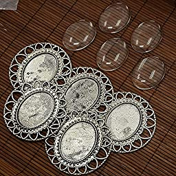 PEPPERLONELY Brand 5 Sets Antiqued Silver Cabochon Frame Setting Tray Pendant with Clear Oval Glass Dome Tile Cabochon 40x30mm
