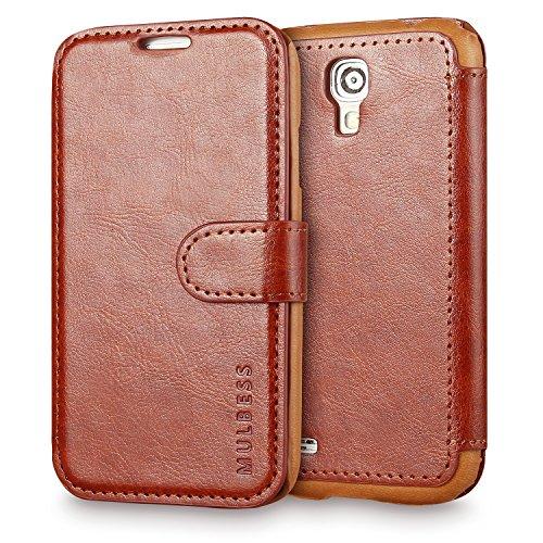 Custodia Per Galaxy S4 - Mulbess Custodia In Pelle Con Wallet Case Cover Per Samsung Galaxy S4 i9500 i9505 - Coffee Marrone [Credit Card Slot Vintage Series]