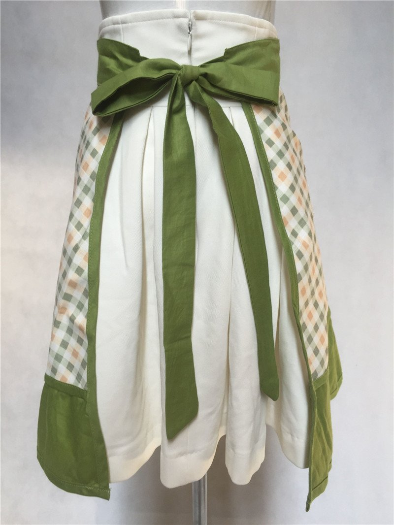Lovely Sweetheart Retro Kitchen Aprons Woman Girl Cotton Cooking Salon Pinafore Vintage Apron Dress with Pocket,Green 5