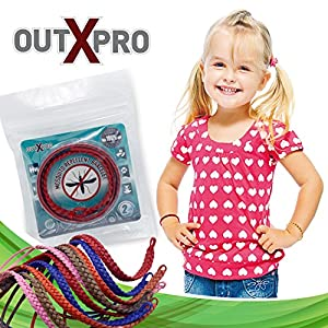 OUTXPRO 10 Mosquito Bug Insect Repellent Leather Bracelets - Family Pack - No Deet Wristbands Pest Control Repeller No Spray Best All Natural Plant Oils Repelling Product - 5 x 2 Ziploc Color Packs