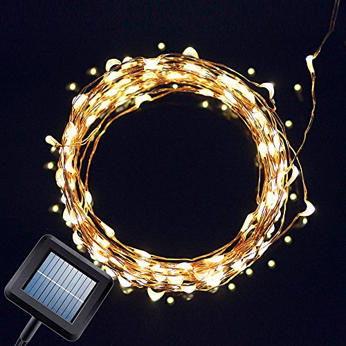 Solar Powered String Light, Amir 100 LEDs Starry String Lights, Copper Wire Lights Ambiance Lighting for Outdoor, Gardens, Homes, Dancing, Christmas Party(Warm White)