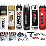 Authentic RDX 9 Piece Boxing Set 4FT 5FT Filled Heavy Punch Bag Gloves Bracket Chains MMA Pad