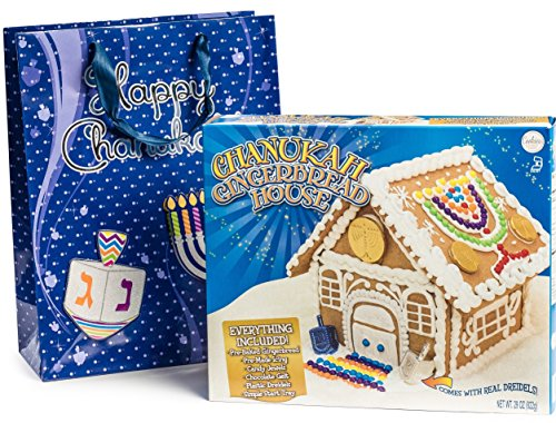 Happy Hanukkah Gourmet Chanukah Gingerbread House Kit for Kids and Entire Family, Comes Packaged in FREE Beautiful Hanukkah BAG!