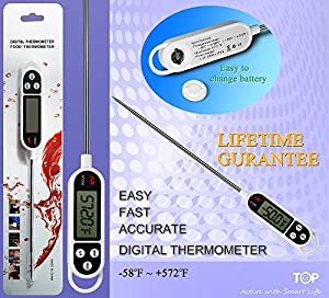 TopG First Choice Chef Cooking Thermometer - Instant Read - Best Digital Thermometer for Meat, Poultry, BBQ and Candy - Lifetime Guarantee