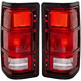 Driver and Passenger Taillights Tail Lamps with Black Bezels Replacement for Dodge Pickup Truck SUV 55076439 55076438
