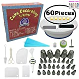 Cake Decorating Supplies - (60PCS SPECIAL CAKE DECORATING KIT) With 24 PCS Numbered Icing Tips, Cake Rotating Turntable, Russian tips and more! Create BEAUTIFUL Cakes With This Complete Cake Set!