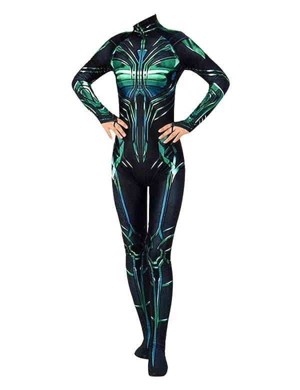 VOSTE Hela Costume Halloween Cosplay Jumpsuit Bodysuit for Women Girls
