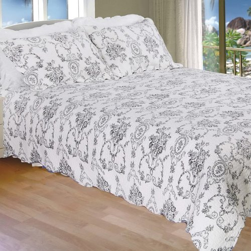 [Serene Night-Black] 100% Cotton 3PC Classic Floral Vermicelli-Quilted Quilt Set (Full/Queen Size)