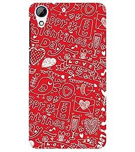 Chiraiyaa Designer Printed Premium Back Cover Case for HTC Desire 728 (boy girl friend valentine miss kiss bird heart tweet typography) (Multicolor)