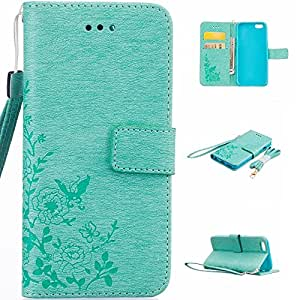 iPhone 6S Case Wallet,IVY [Baby Green]-[Butterfly Flowers][Kickstand Case][Credit Card Pocket][PU Leather Wallet] For iPhone 6S 4.7 Inch Phone
