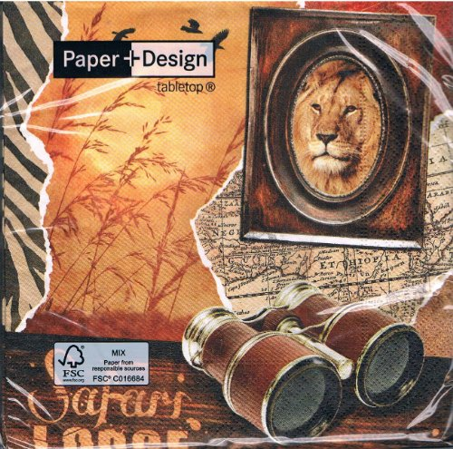 Paper + Design - Servietten - Safari Lodge - Afrika / Fernglas / Löwe