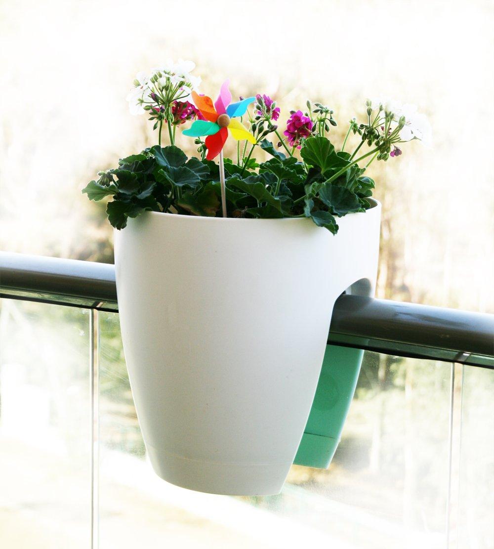 decorative deck railing planter white 2 pack outdoor patio garden plant flower ebay. Black Bedroom Furniture Sets. Home Design Ideas