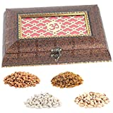 Aaina Om Logo With Textured Effect On Border Dark Brown Wooden Handicraft Gift Box With Dry Fruits
