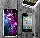 Cracked Screen Prank Custom made Case/Cover/skin FOR iPhone 4/4s - White - Rubber Case ( Ship From CA)