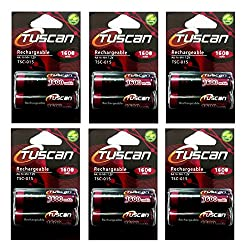 Tuscan 6 Packs of 12 pieces 1600mah AA 1.2V, Rechargeable Ni-Mh Batteries 1600 mAh AA Size