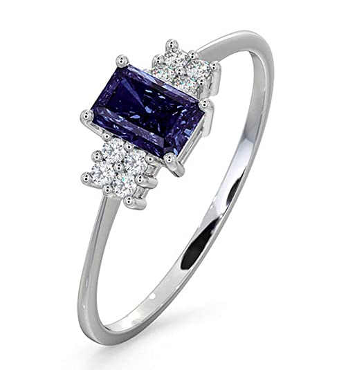 TheDiamondStore | Engagement Ring - Tanzanite & Diamond 0.06ct - 18K White Gold
