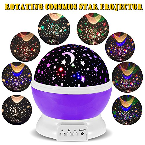 3 Modes Rotating Star Light Projector, Hallomall 4LED Romantic Night Lamp Projection, Cosmos Star Sky Moon Lamp Projector for Kids Baby Bedroom, Christmas Gifts (Purple)