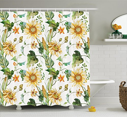 Ambesonne Sunflower Decor Collection, Sunflowers and Corn Pattern Agriculture Cultivating Nature Art Close Up Design Print, Polyester Fabric Bathroom Shower Curtain Set with Hooks, Soft Green Yellow (Fabric With Corn Design compare prices)