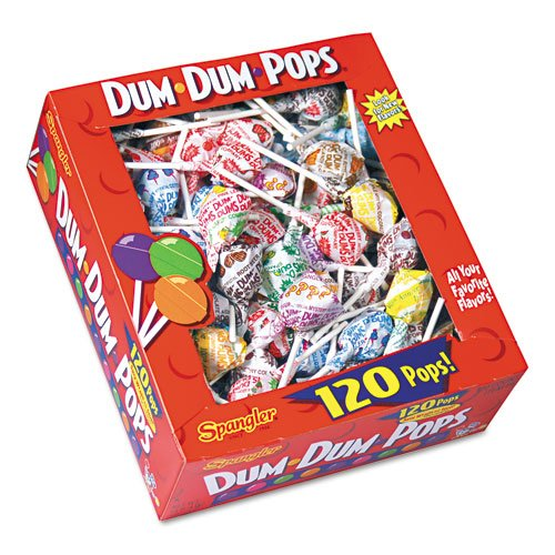 Spangler Products - Spangler - Dum-Dum-Pops, Assorted Flavors, Individually Wrapped, 120-Count Box - Sold As 1 Box - The classic, all American lollipop. - Fun, assorted flavors. - Individually wrapped.Spangler Products - Spangler - Dum-Dum-Pops, Assorted Flavors, Individually Wrapped, 120-Count Box - Sold As 1 Box - The classic, all American lollipop. - Fun, assorted flavors. - Individually wrapped.