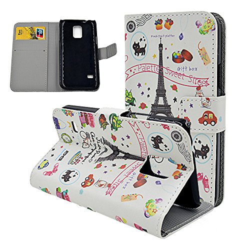 Eiffel Tower Cute Cartoon Painted Flip Leather Case For Samsung Galaxy S5 Mini (Not S5) Card Holder Design Magnetic Clasp Stand Cover Protective Skin
