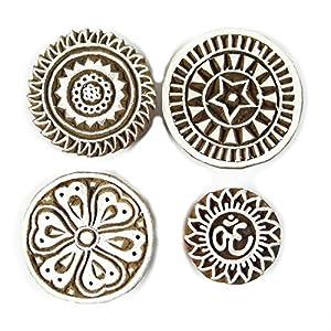 Sculpté à la main Indien impression Bloquer Lot de 4 pièces en bois Textile Stamp impression de bloc