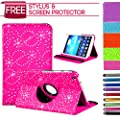 360 Rotatable Stand Leather Diamond Flower Sparkle Bling Case Cover For Samsung Galaxy Tab 3 7 & 10.1 P5200/P5210 P3200 P3210 (Samsung Galaxy Tab 3 10.1 Inch P5200, Pink)