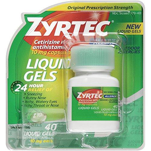 Zyrtec Allergy Liquid Gels, 24 Hour, 40 Count, 10Mg Each