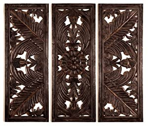 Amazon.com: Set 3 Huge Fine carving Wood Wall Decor Sculpture 70W ...
