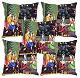 Sleep nature's Mughal Kings and Queens Painting Printed Cushion Covers Set of Five