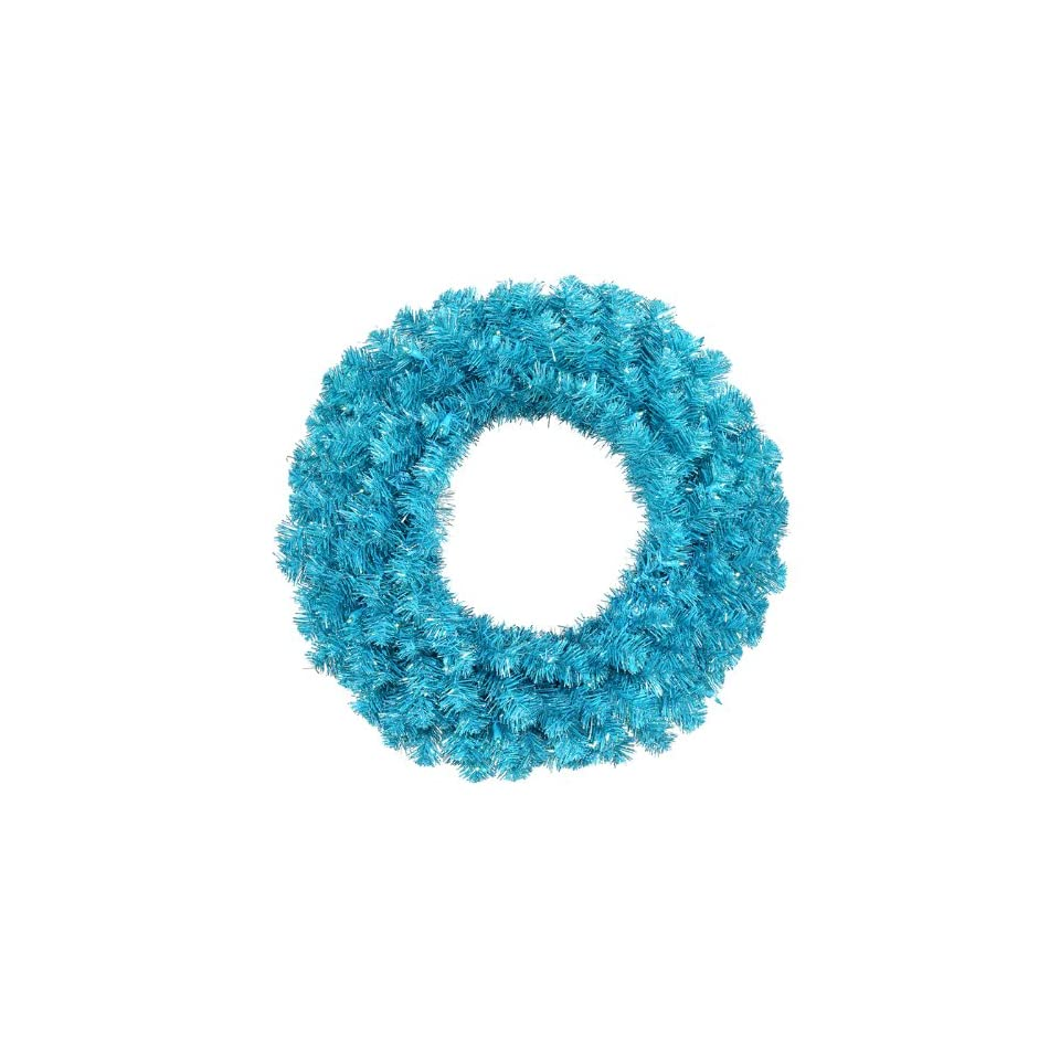 36 Pre Lit Sparkling Sky Blue Artificial Christmas Wreath   Teal Lights