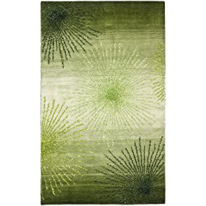 Safavieh Soho Collection Explosions Handmade New Zealand Wool Area Rug, 5-Feet by 8-Feet, Green