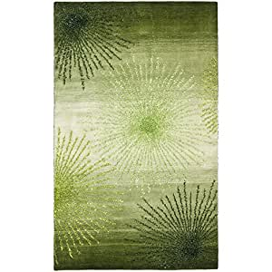 Safavieh Soho Collection SOH712G Handmade Green and Multicolored New Zealand Wool Area Rug, 5 feet by 8 feet (5' x 8')