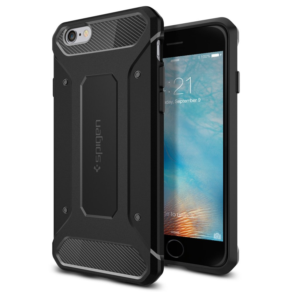 【Spigen】 iPhone6s ケース / iPhone6 ケース カプセル ウルトラ ラギッド [ 米軍MIL規格取得 落下 衝撃 吸収 ] アイフォン6s / 6 用 耐衝撃カバー (ブラック 【SGP11597】)