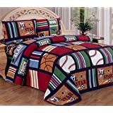 Fancy Collection Blue Red Green Sport Kids/teens 3 Pc Sheet Set Pillow Shams Bedding Twin Size