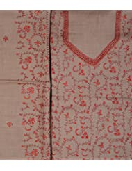 Exotic India Taupe Salwar Kameez Fabric From Kashmir With Sozni Embroider - Gray